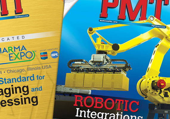 Cover design for <i>PMT</i>, a bimonthly magazine for the packaging and processing industry.