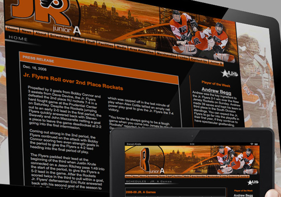 Designed and built website for the Philadelphia Junior Flyers ice hockey team.