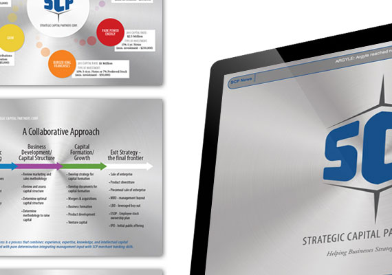 Designed logo, pitch book presentation and website for Strategic Capital Partners Corp (Merchant Banking industry). As the Project Manager, I created a brand style guide and managed the web development progress.