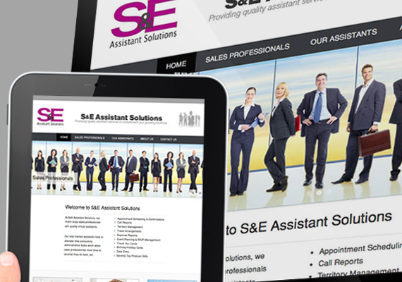 Website built with WordPress for S&E Assistant Solutions, a virtual assistant staffing service. Satisfied client's request for ease of maintenance and cost-effective editing after site was built.